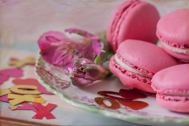 Pink Macaroon and Glitter for Valentine`s Day stock image