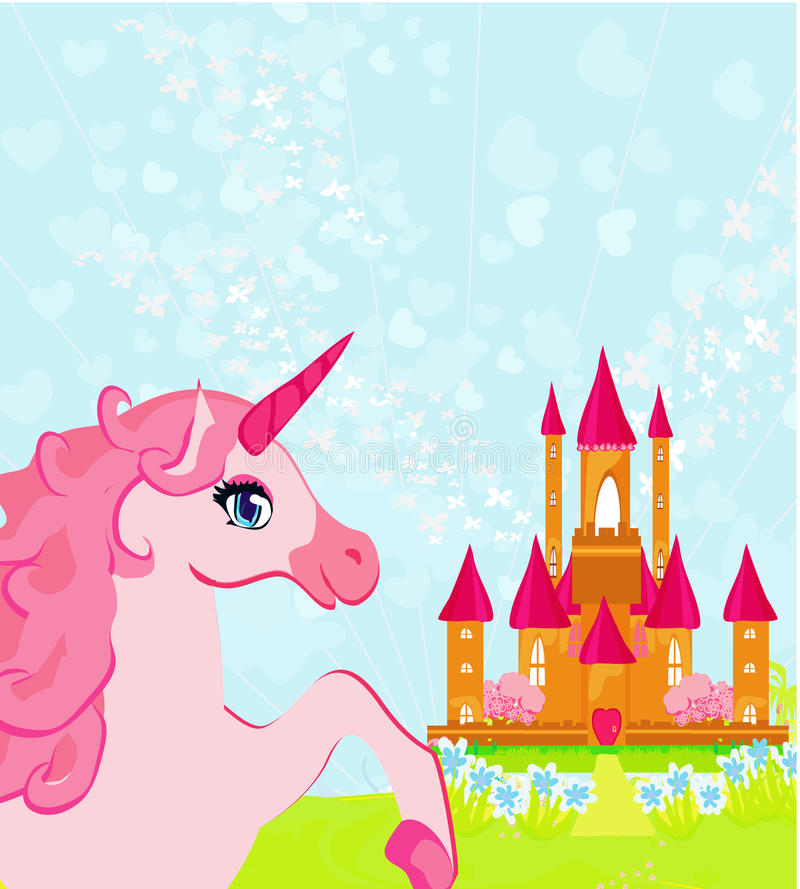 Download Pink Magic Castle And Unicorn Stock Vector - Image: 26448452
