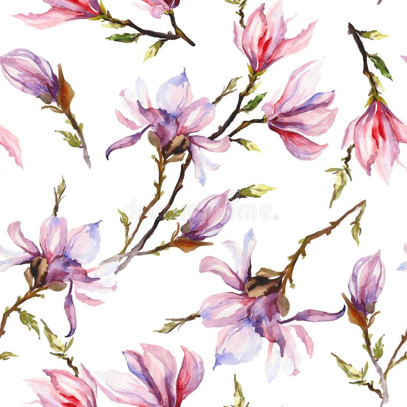 Pink magnolia flowers on a twig on white background. Seamless pattern. Watercolor painting. Hand drawn. Can be used for wallpaper, textile design stock illustration