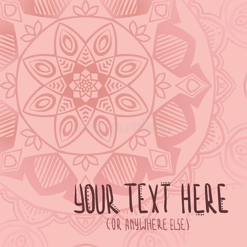 Pink mandala postcard stock photos