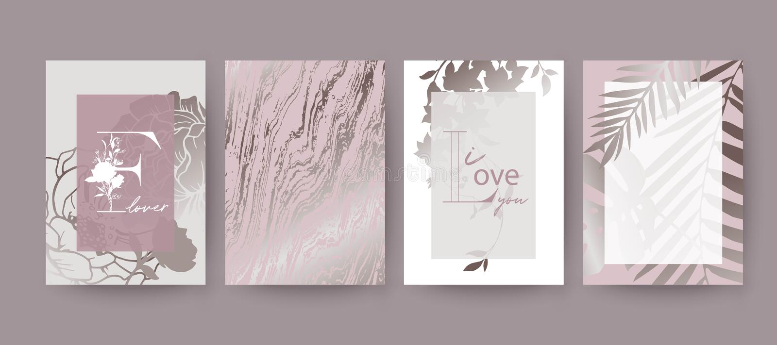 Pink marble texture, flowers and palm leaves card design. vector illustration