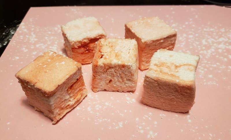 Pink marshmallow arrangement stock photos