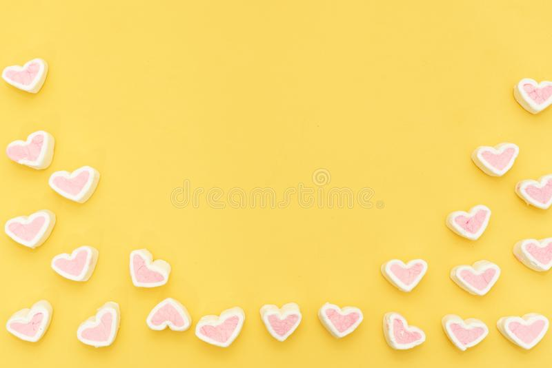 Pink marshmallow in a gift box in form of heart on white background, Many hearts marshmallows for present, Sweets in the form of stock photography