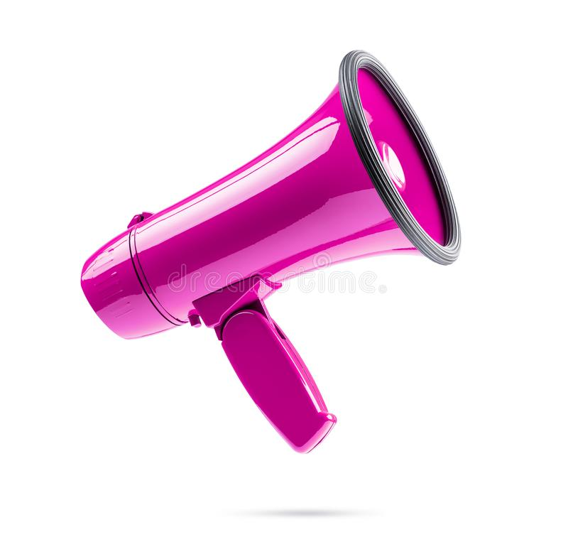 Pink megaphone isolated on white background. File contains a path to isolation. royalty free stock images