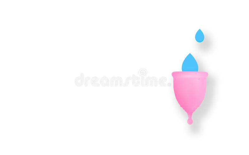 Pink menstrual cup on pink background. Flat lay, top view. copy space. Hygiene for women`s health. Eco zero waste concept stock illustration
