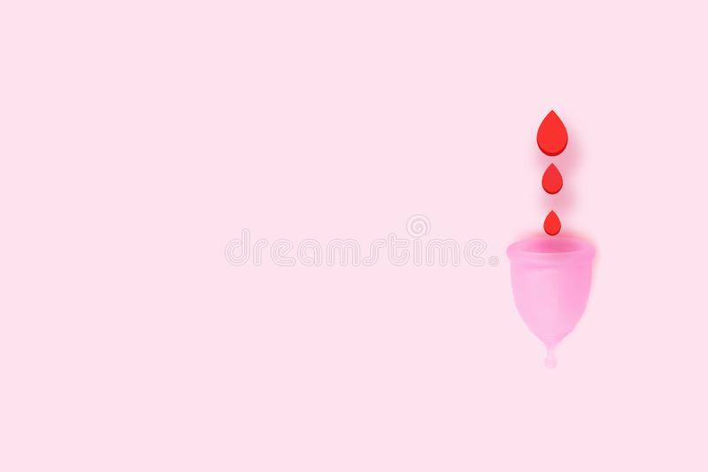 Pink menstrual cup on pink background. Flat lay, top view. copy space. Pink menstrual cup with blood on pink background. Hygiene for women`s health. Eco zero vector illustration