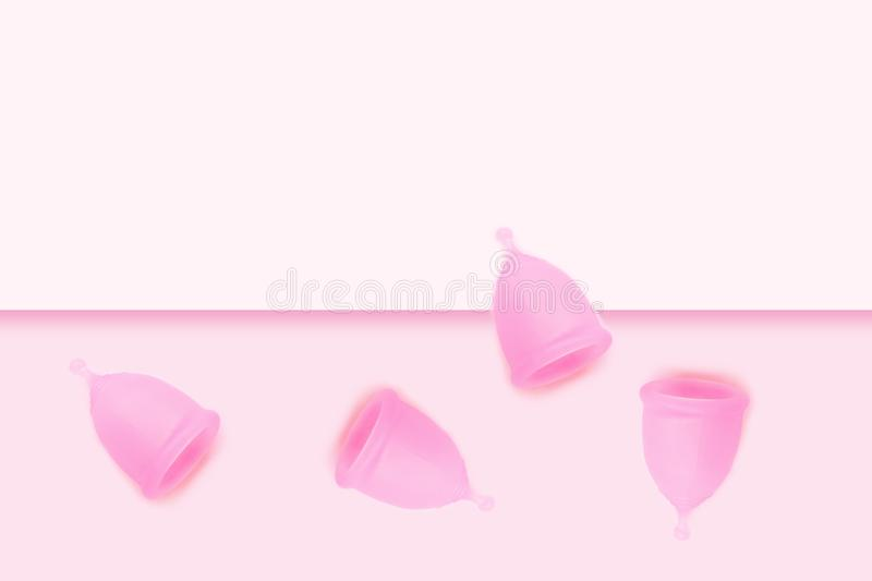 Pink menstrual cup on pink background. Flat lay, top view. copy space. Pink menstrual cups on pink background. Flat lay, top view. copy space. Hygiene for women` royalty free illustration