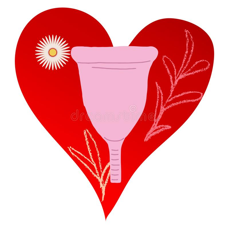 Pink Menstrual cup on red heart illustration. A menstrual cup flat cartoon vector illustration on red heart with chamomile. Feminine hygiene concept. Women stock illustration