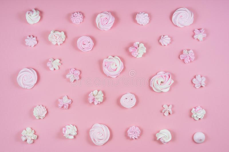 Pink Meringue Sweet Birthday Cake Pattern Flat Lay stock photography