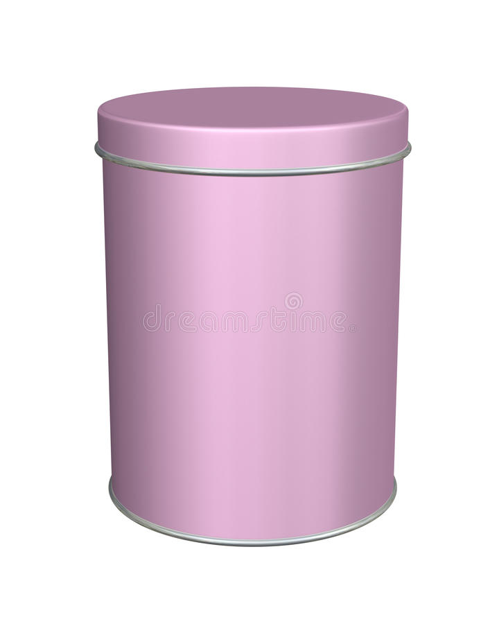 Round Metal Can For Food, Cookies And Gifts. Isolated On
