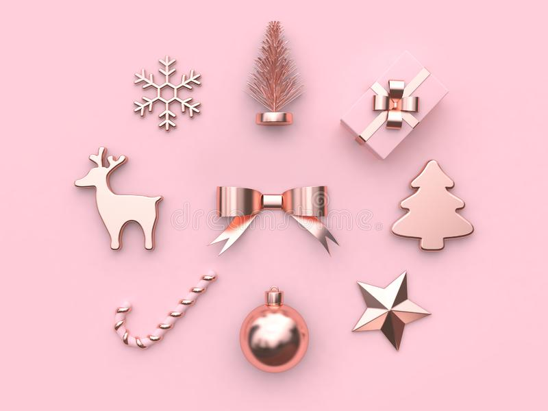 Pink metallic glossy-rose gold abstract bow ribbon christmas ball star tree gift box snow reindeer candy christmas holiday new yea stock illustration