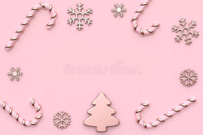 Pink metallic glossy-rose gold christmas holiday new year concept minimal pink background abstract christmas tree snow candy 3d re vector illustration