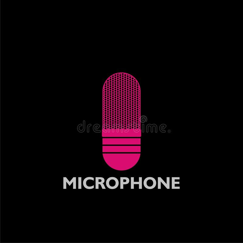 Pink Microphone logo icon. On dark background royalty free illustration