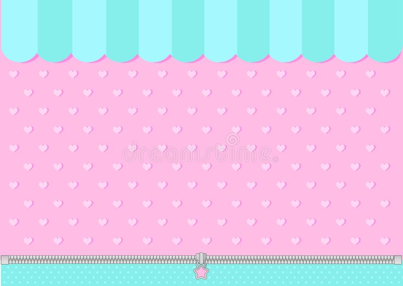 Pink and mint blue green background with little hearts. Candy shop backdrop. Decoration banner themed Lol surprise doll girlish style. Invitation card template royalty free illustration