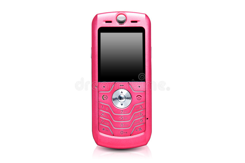 Pink mobile phone royalty free stock image