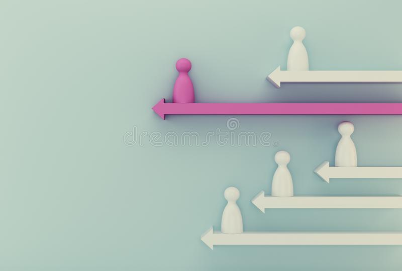 Pink model people outstanding with arrow on blue background. Human resource, Talent management, Recruitment employee, Successful royalty free stock photos
