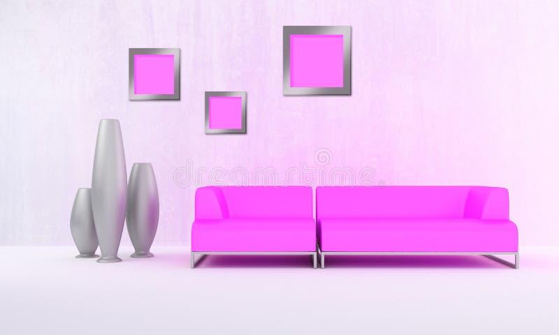 Pink moder style sofa. Pink modern sofa in white luminous room stock illustration