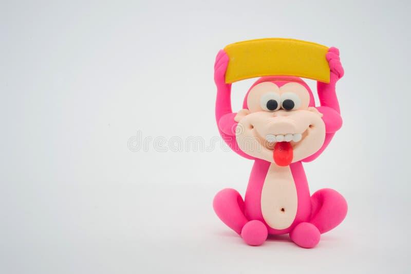 Pink monkey show blank label stock photo