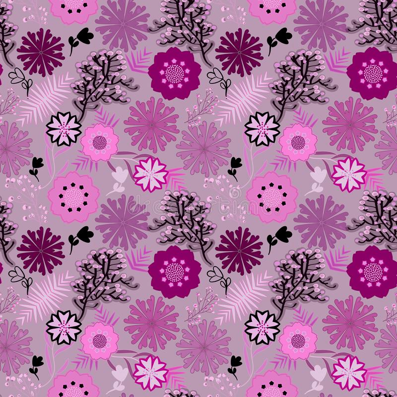 Pink monochromic seamless floral pattern tile stock illustration