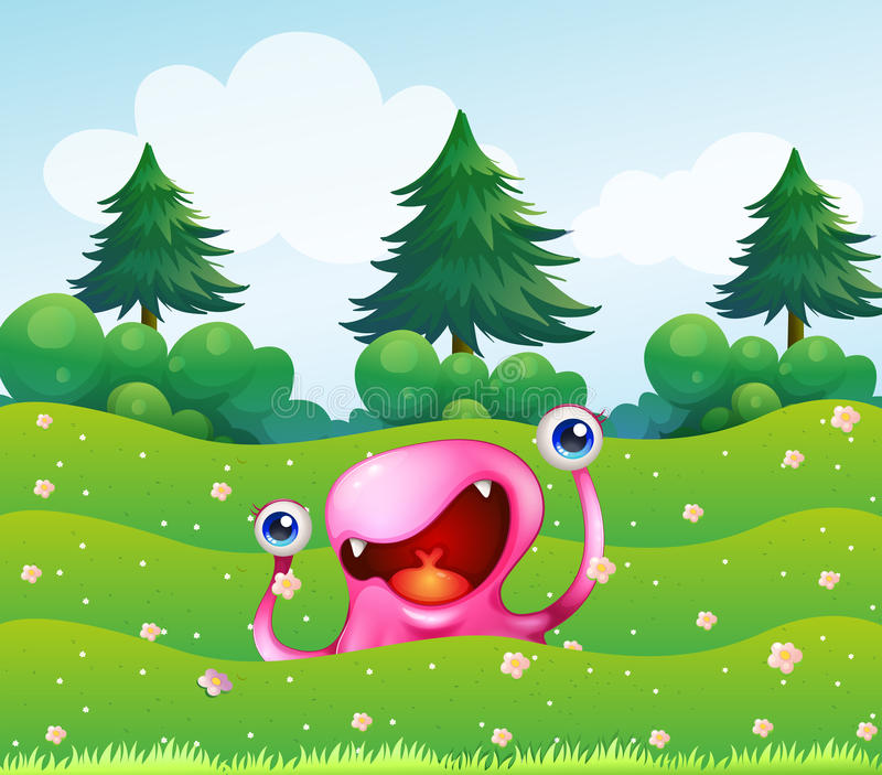 Download A Pink Monster Near The Pine Trees Stock Vector - Image: 34134072