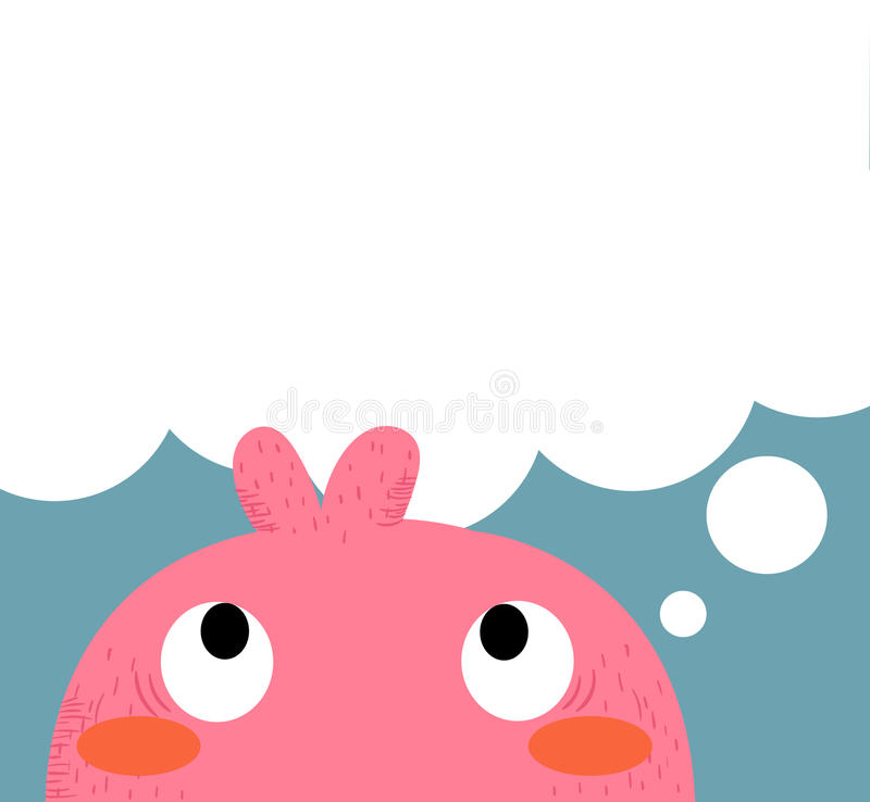 Pink monster. Thinking.It's suitable for your work stock illustration