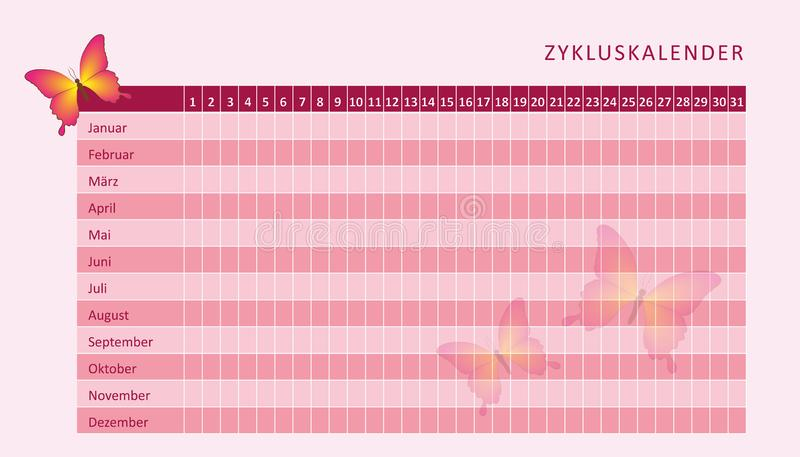 Pink monthly menstruation calendar of menstrual cycle with butterfly. Vector illustration EPS10 vector illustration