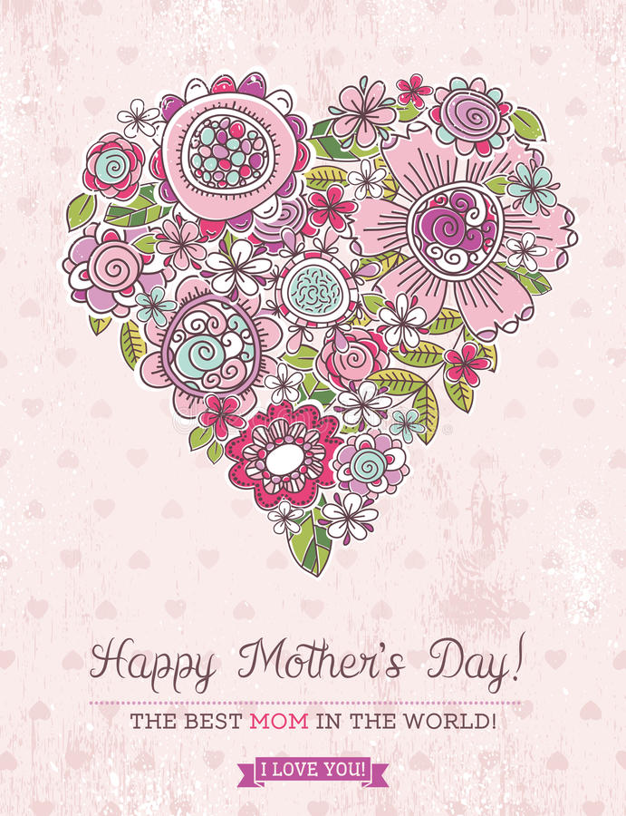 Pink Mother's Day card with big heart of spring flowers, vector stock illustration