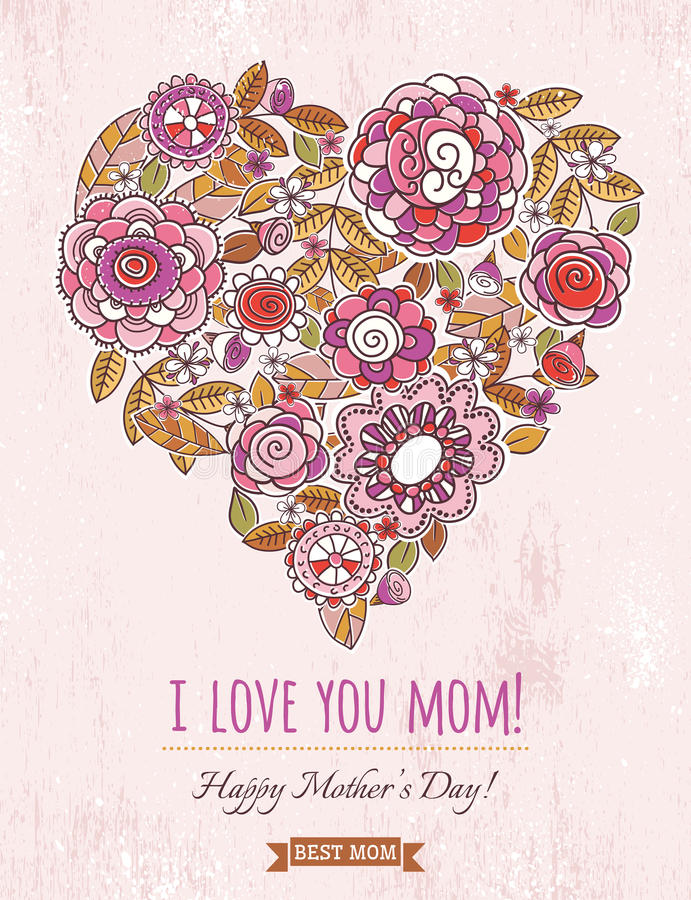 Pink Mothers Day card with big heart of spring flowers, vector royalty free illustration