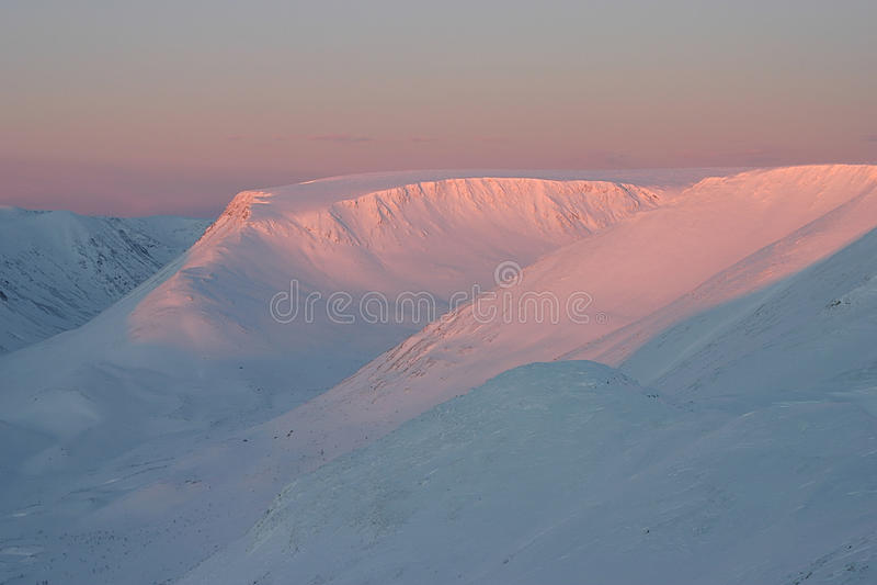 Pink mountains stock image