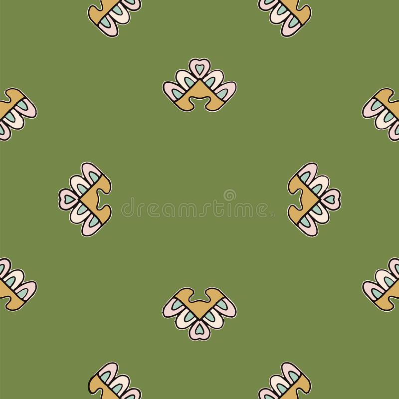 Pink and mustard tribal abstract seamless pattern on green background. royalty free illustration