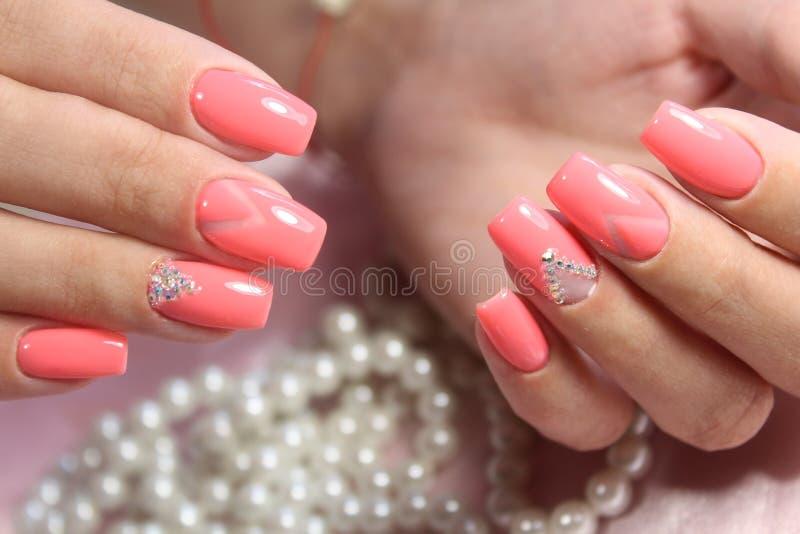 Pink Nail Art Geometry Stock Image Image Of Polish Girl 96778457