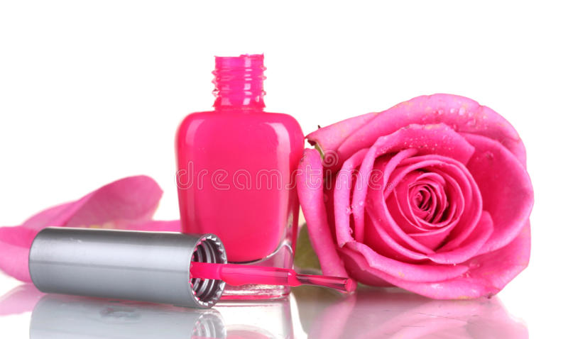 Pink nail polish with rose stock photos