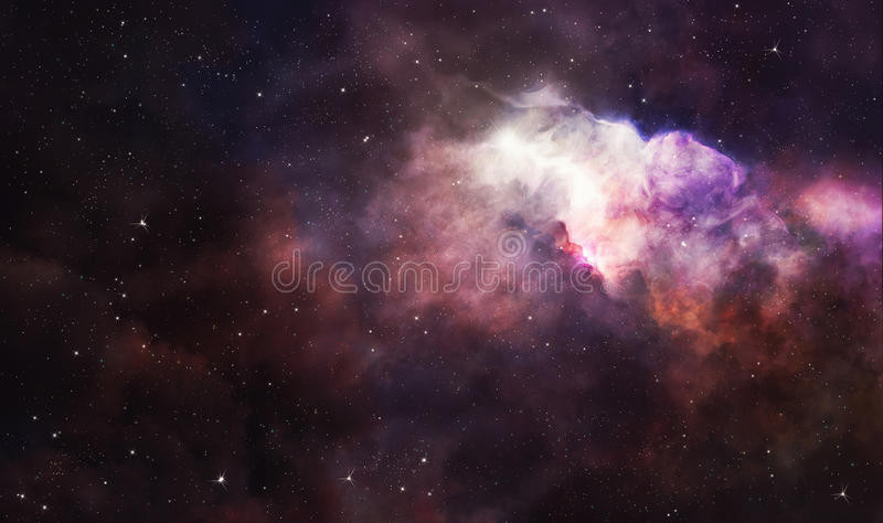 Pink nebula in deep space vector illustration