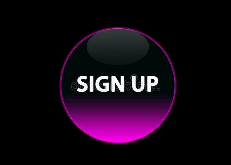 Pink neon buttom sign up stock images