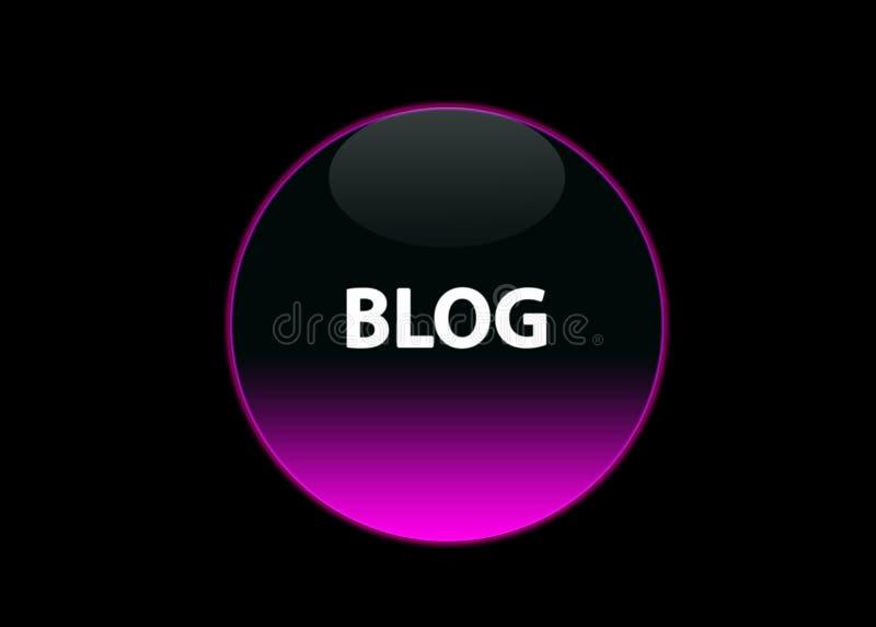 Pink neon button blog vector illustration