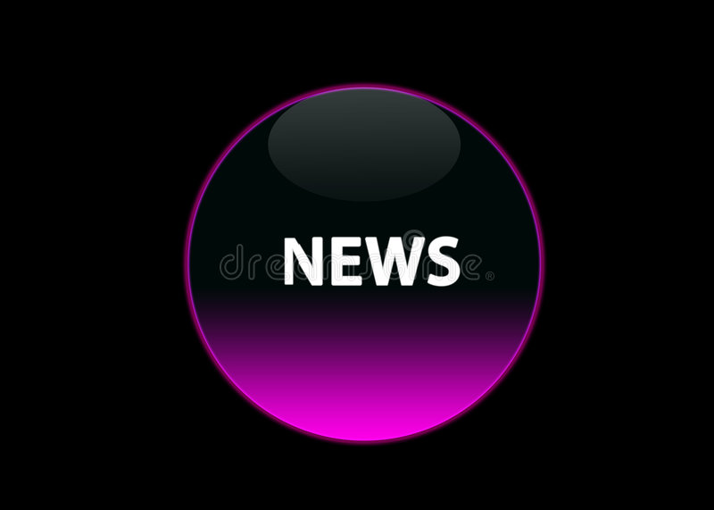Pink neon button news. One pink neon button news, black background stock illustration