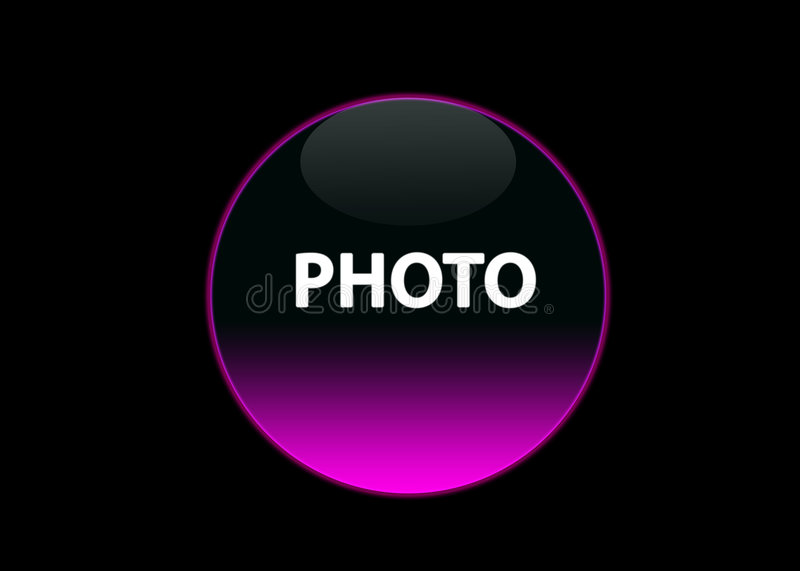 Pink neon button photo royalty free illustration