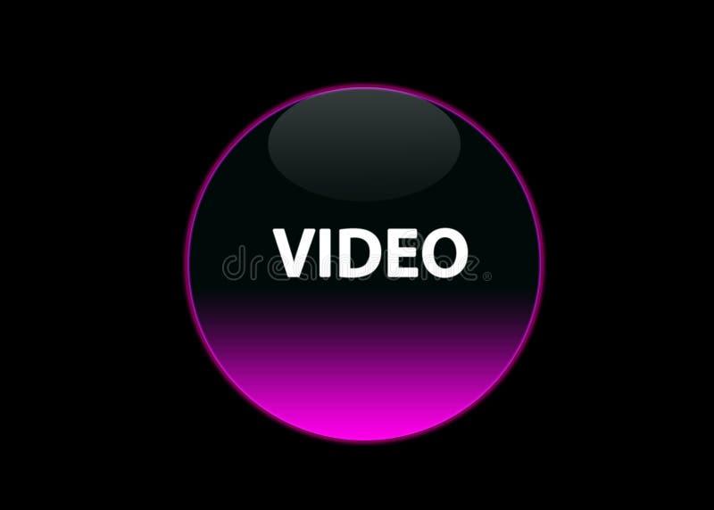 Pink neon button video stock illustration