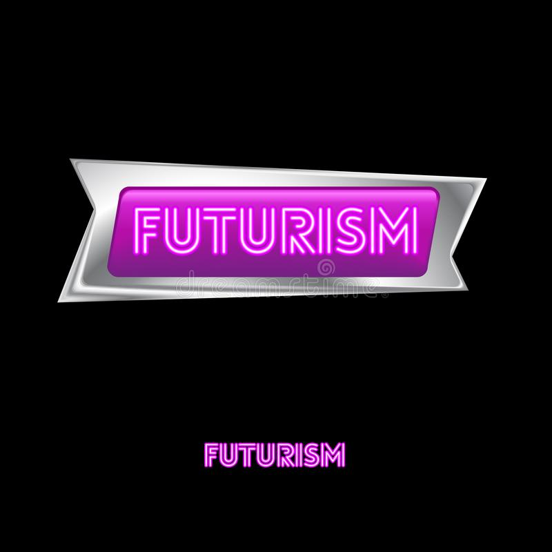 Pink Neon Futurism logo. Neon pink letters in the original frame of the white metal. vector illustration