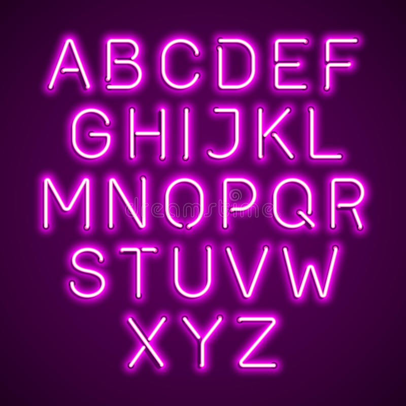 Pink neon light glowing alphabet vector illustration
