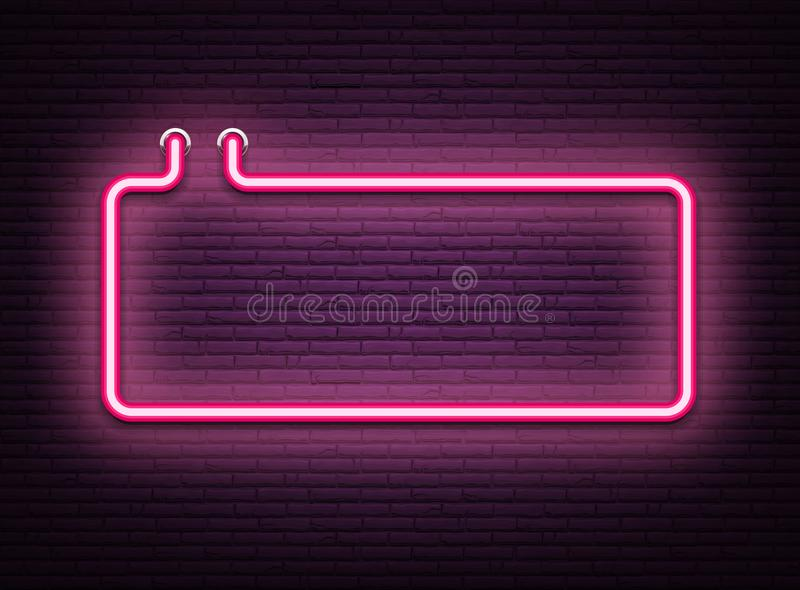 Pink neon luminous signboard on realistic bricklaying wall. Textured background. Vector illustration.r vector illustration