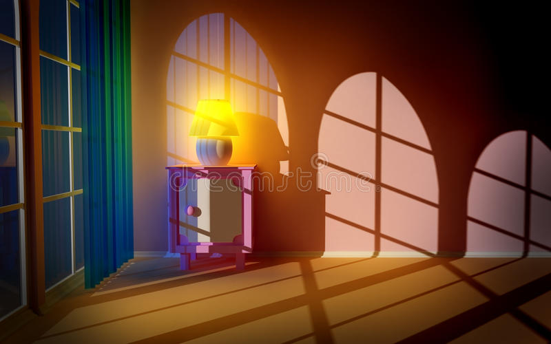 Download Pink Nightstand At The Window Stock Photo - Image: 22022320