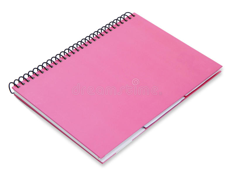 Pink notebook isolated. On white background royalty free stock images