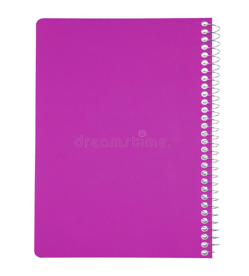 Pink notebook isolated on white royalty free stock image