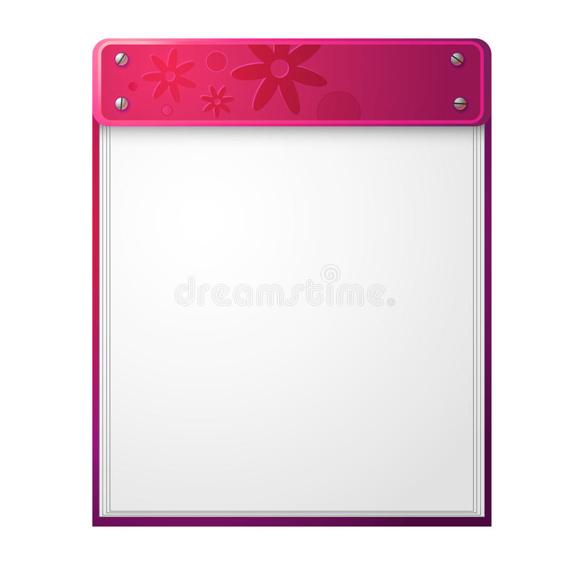 Pink notepad with flower pattern