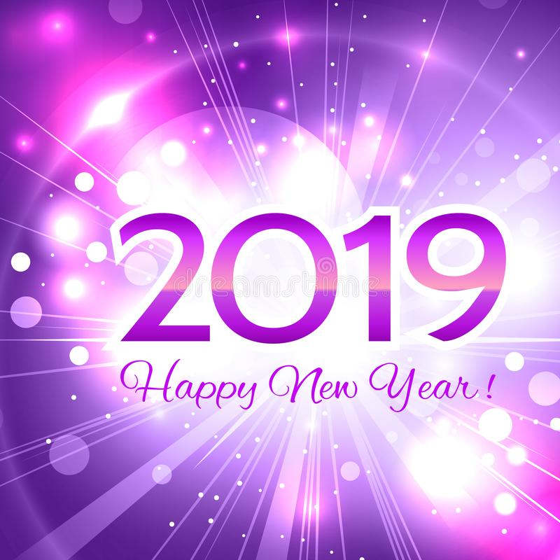 2019 pink number happy new year greeting card royalty free illustration