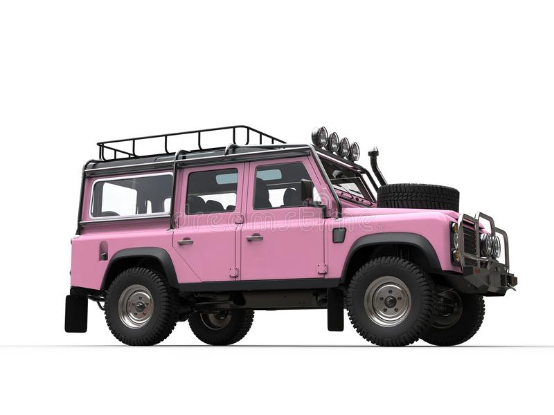 Pink off road four wheel drive car - low angle shot - side view. Isolated on white background stock photography