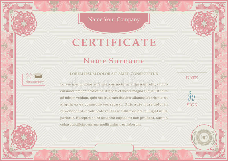 Pink official certificate. Pink guilloche border on beige background vector illustration