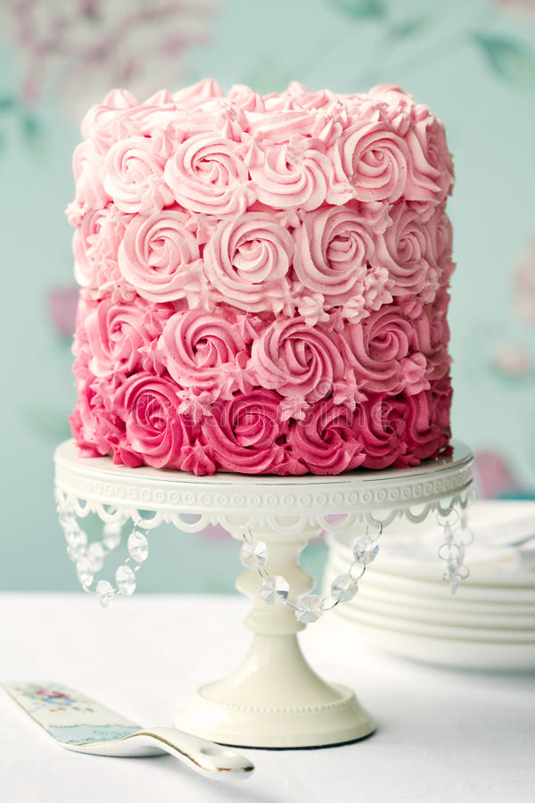 Pink ombre cake stock images