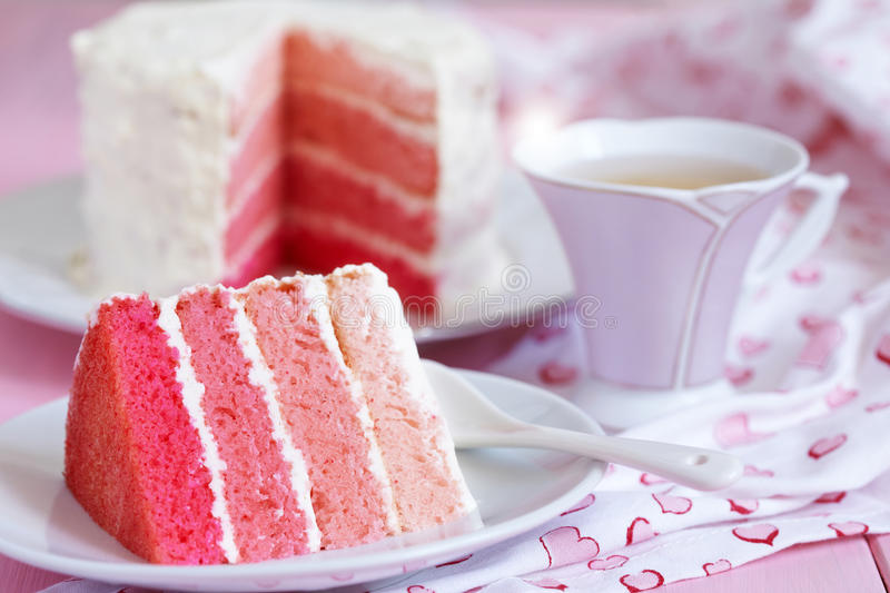 Pink Ombre Cake. For holiday royalty free stock image